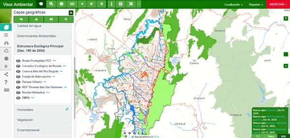 Visualización de los componentes de la Estructura Ecológica de Bogotá desde el Visor Geográfico.